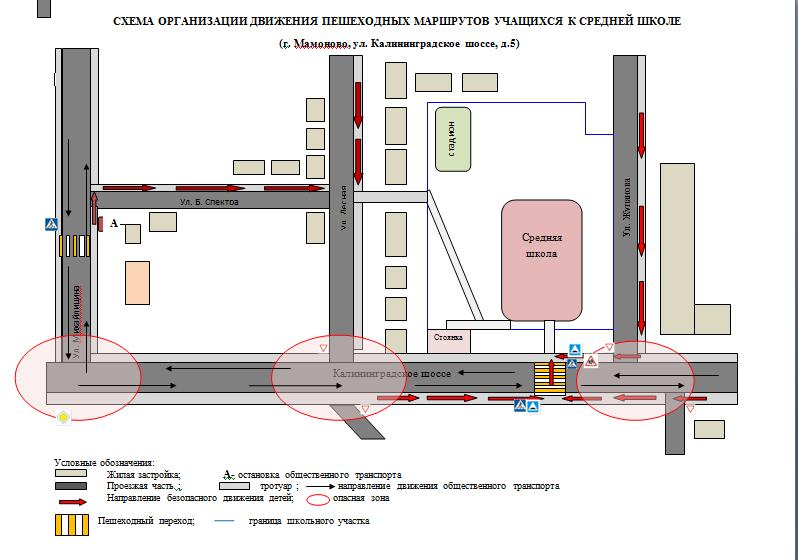 Схемы организации пешеходных маршрутов учащихся